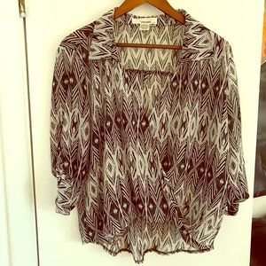 Patterned Cross over Blouse - Sans Souci - small